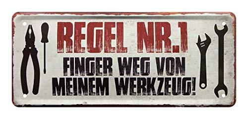Blechschild Regel Nr.1 Finger Weg von Meinem Werkzeug - Dekoration Hobby Keller - Metallschild für Werkstatt - Türschild für Bastelraum - Deko für Handwerker, Schrauber, Mechaniker - 28x12cm