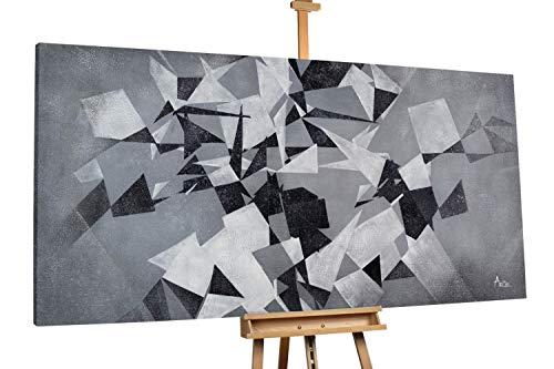 KunstLoft® XXL Gemälde 'Spiel der Geometrie' 200x100cm | original handgemalte Bilder | Geometrische Kunst Schwarz-Weiß Grau | Leinwand-Bild Ölgemälde einteilig groß | Modernes Kunst Ölbild