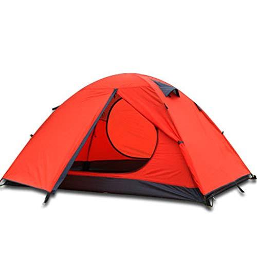 YFGRD Leichtes Campingzelt Doppelschichtiges Wurfzelt mit Tragetasche,Trekkingzelt mit Vordach für 4 Personen, schnell aufbaubares Camping Zelt,Rot