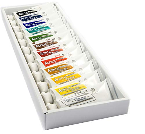 Daveliou Acrylic Paint Set - 12 x 32 ml Non Toxic Acrylic Paints – Vivid Vibrant Colors - Rich Pigments Good Coverage and Lasting Quality on Paper Canvas Wood or Fabric