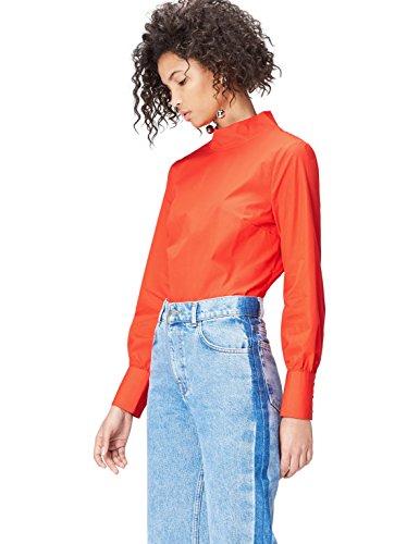 Amazon-Marke: find. Bluse Damen Popline-Oberteil mit Stehkragen, Rot (Red 103270), 36, Label: S