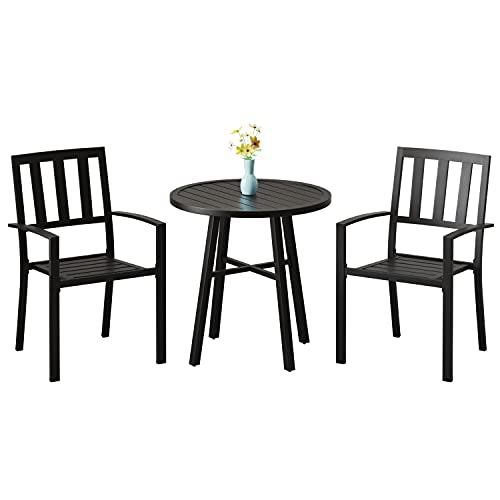 Joolihome Garden Furniture Set, Metal Round Coffee Table and 2 Armchairs, 3 PCS Indoor Outdoor Conversation Dining Set for Patio, Backyard, Balcony, Lawn, Poolside, Cafes, Bistro, Courtyard (Black)