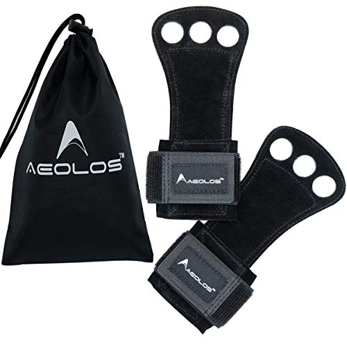 AEOLOS Leather Gymnastics Hand Grips-Great for Gymnastics,Pull up,Weight Lifting,Kettlebells and Cross Training (Black(2 Layers Leather), Small)