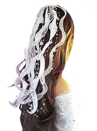 LadyMYP© Kopfschmuck/Haarschmuck/Haarbänder mit Blüten und Perlen Hochzeit Kommunion (Weiß)