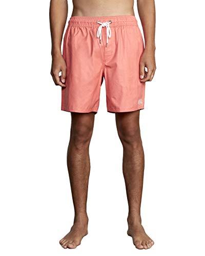 RVCA mens Opposites Elastic Short Swim Trunks, Coral Pink, Large US