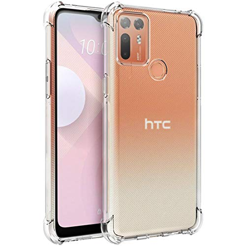 Osophter for HTC Desire 20 Plus Case Clear Transparent Reinforced Corners TPU Shock-Absorption Flexible Cell Phone Cover for HTC Desire 20 Plus(Clear)