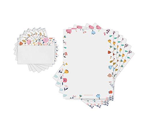 Friendly Fox - Papel de carta con diseño de flores, 20 hojas con 20 sobres, tamaño A4, para niños y adultos