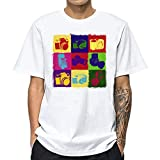 Camisetas Hombre JiaMeng-ZI Camisas de Manga Corta con Cuello Redondo y Estampado Smiley Tops de Verano Elegante Polos de Casual BáSica Short Sleeve T-Shirt