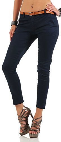 Malito Damen Chinohose mit Gürtel | Stretch Caprihose | schicke Freizeithose | Skinny - Slimfit - elegant 5388 (dunkelblau, L)