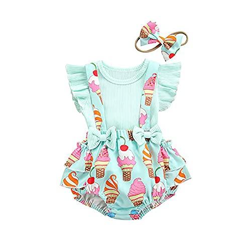 FYMNSI Conjunto de verano para bebé recién nacido, niña, manga corta, camiseta...