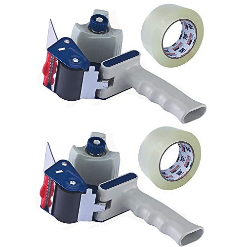 "Heavy Duty Packing Tape Gun for 2"" Width Tape, Hold up to 180 Yards Length roll, Plus 1 Roll of Heavy Duty Packing Tape 1.88"" x 60y x 2.7mil, Perfectape Brand, 2-Pack"