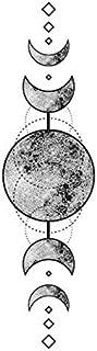 Set of 5 Waterproof Temporary Fake Tattoo Stickers Vintage Grey Moon Geometric Elegant