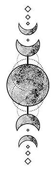 Set of 5 Waterproof Temporary Fake Tattoo Stickers Vintage Grey Moon Geometric Elegant  SF3339