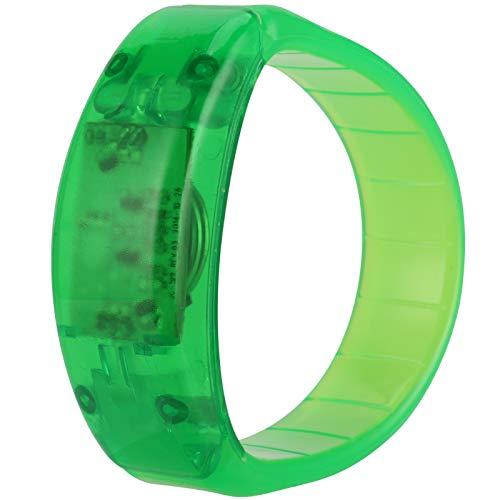Pulsera intermitente activada por voz, pulsera LED, pulsera LED fácil de limpiar, pulsera LED para correr de noche, para corredor, para niños, para bar, para conciertos de música(green)