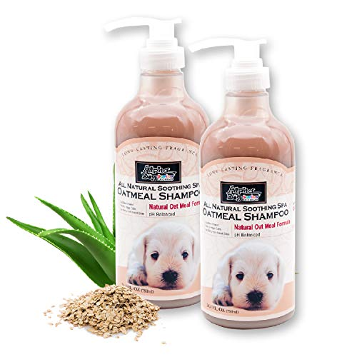 Alpha Dog Series Natural Dog Oatmeal Grooming Bath Shampoo and Conditioner with Aloe Vera, Antibacterial, pH balanced, Tear-Free, Moisturizer and Odor Eliminator - 26.4 Oz (Pack of 2)