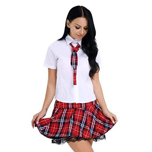 YiZYiF School-Girl Minirock mit Bluse und Krawatte Erotik Dessous Set Babydoll Nachtwäsche Cosplay Schulmädchen Kostüm Kleid Halloween Kostüm (XL, Rot & Weiß)