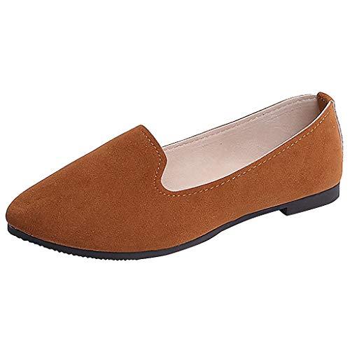 Moda Zapatos de Tacón Bajo de Color Liso para Mujer Jovencita TOPKEAL Casual Zapatos Planos de Trabajo Marrón 38.5