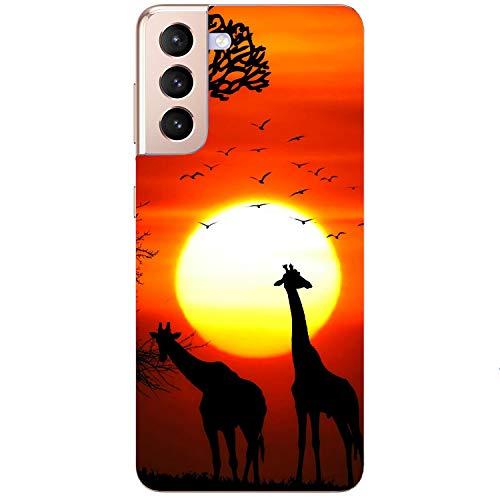 Generisch Funda blanda para teléfono móvil, diseño de puesta de sol, jirafa, sabana africana, Steppe Samsung Apple Huawei Honor Nokia One Plus Oppo ZTE Xiaomi Google, tamaño: Oppo Find X2 lite