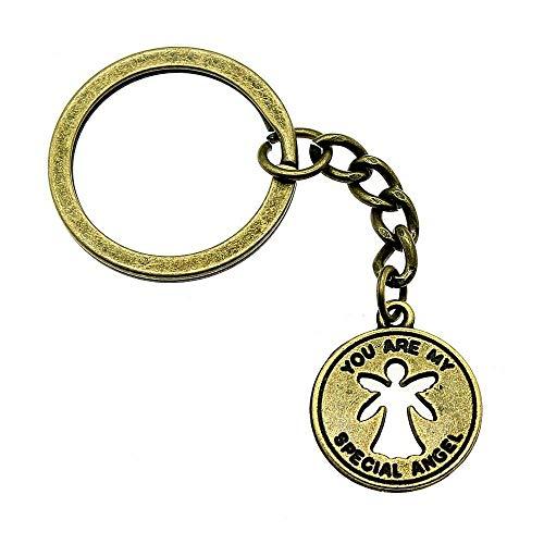 Bijv sleutelhanger accessoires sleutelhanger ringen Du bist mein bijzondere engel creatief handgemaakte verjaardagsgeschenken 22x18mm hanger antiek brons