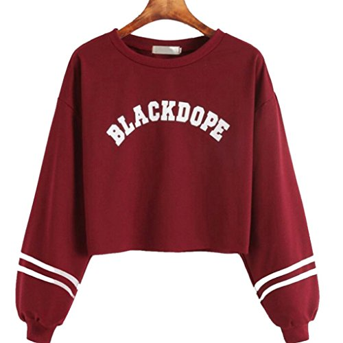Hansee Sexy Sweatshirt, Frauen Casual Langarm-Print BLACKDOPE Pullover Mantel Tops Bluse (Rot, Asian Size M)