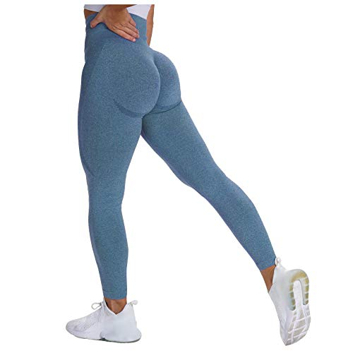 OutTop Womens Butt Lifting Yoga Pants High Waisted Workout Leggings Tummy Control Ultra Stretch Athletic Sports Pants (Blue, S)