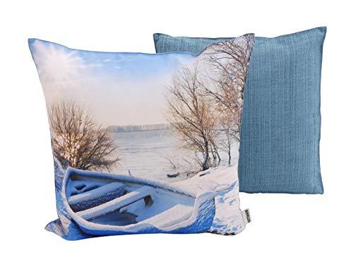 CB Home & Style Outdoor Garten Kissen Wasserabweisend 45 x 45 cm Weihnachten Winter (Boot)