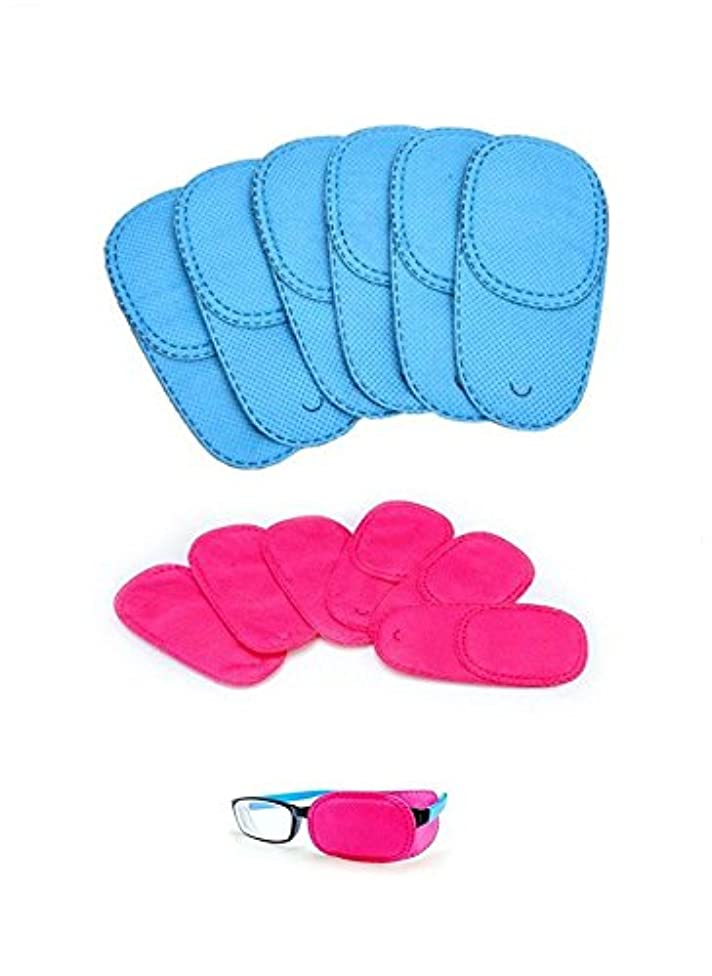 Alfto Children Adult Eye Patch for Glasses to Treat Lazy Eye/Amblyopia/Strabismus 12pcs(Blue + Pink)(100mm x 50mm)