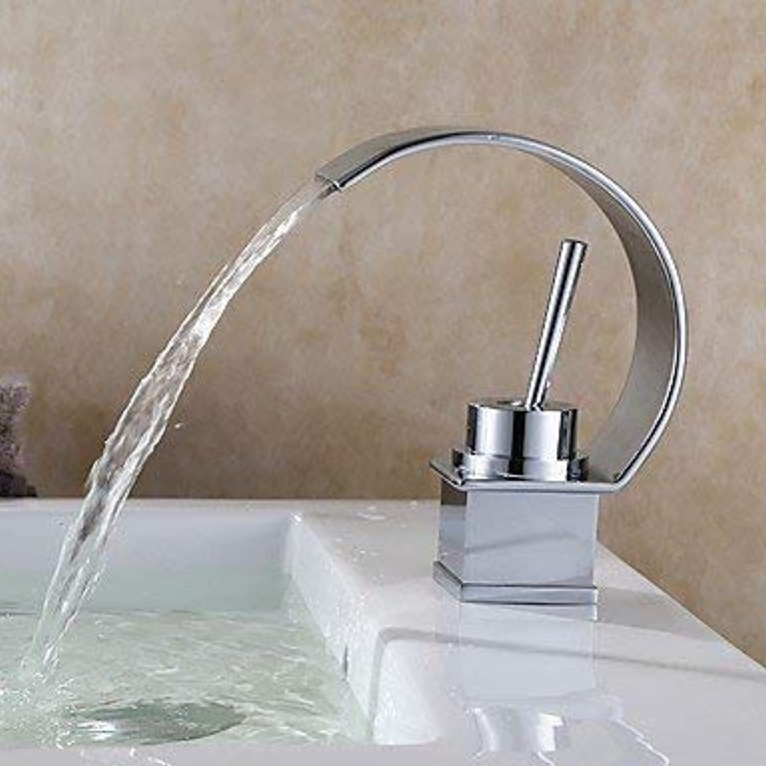 BESTHOO Modern Modern Style Special Model Center Waterfall with Ceramic Valve One-Hand A Hole for Chrome, (color   -, Size   -)