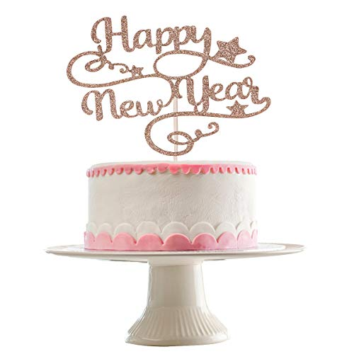 Rose Gold Glittery Happy New Year Cake Topper- New Years Cake Topper, New Years Eve Party Supplies 2021, NYE Decorations 2021,Happy New Year Decorations 2021- Farewell to 2020 and Welcome to 2021