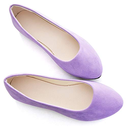 Stunner Women Cute Slip-On Ballet Shoes Soft Solid Classic Pointed Toe Flats by Light Purple 43
