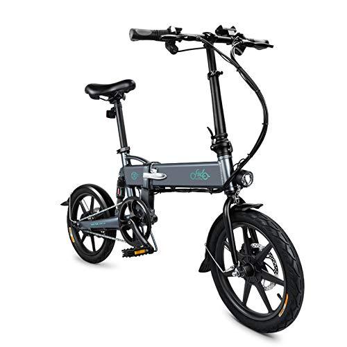AIMADO 16' Vélo Pliant À Assistance, E-Bike avec Support de Téléphone Portable USB, 3 Mode, Batterie ION Lithium 36V 7.8Ah - Gris/Blanc (EU Stock)