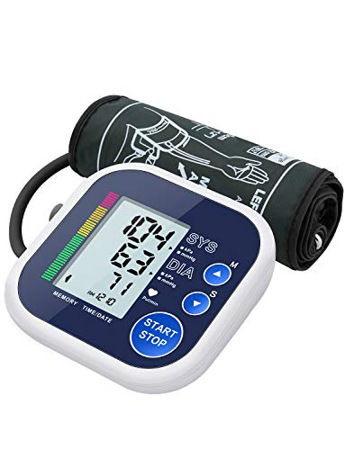 ATMOKO Blutdruckmessgerät Oberarm, mit Arrhythmie-Erkennung, vollautomatischen Messung von Blutdruck und Puls, mit großem LCD-Display, Große Manschette (22-42 cm), Farbskala mit Blutdruck-Anzeige
