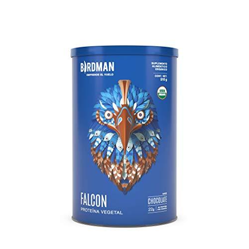 Birdman Falcon Protein Proteina Vegetal USDA Organica En Polvo (Vegana), 22gr proteina, Sin inflamacion, Sin acne, 17 Porciones Sabor Chocolate 510gr
