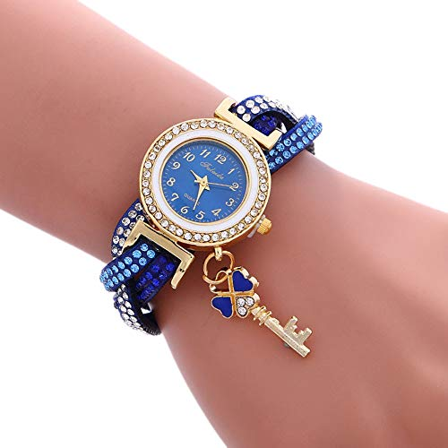 YIXIE Lady Quartz Watches, Women,Girl Kids Watch,Mini Watch,Nurse Watch,3 PCS Ladies Padlock Multicolor Bracelet Quartz Watch With Diamond WEEXIZHIGUANGLIYA (Color : Blue)