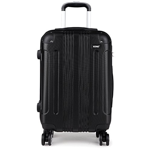 "Kono 20 Inch Hard Shell Luggage Lightweight ABS 4 Wheels Spinner Business Trip Trolley Case Cabin Carry-on Hand Luggage Suitcase (New Black 20"")"