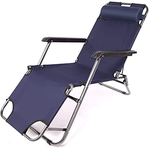 Patio Lounge Chairs Recliner Reclining and Folding Garden Sun Lounger Chair Outdoor Campinged Portable Lightweight Armchair for Patio Oreacheach,alcony, Park Or Campsite (Color : Navy)
