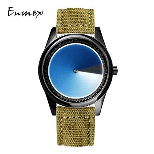 TWCAM Acero Cuero Pulsera Hombre- Mire El Reloj Masculino Creativo del Vórtice del Gradiente Estéreo, Gradación De La Lona