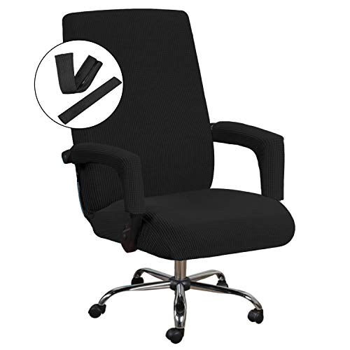 Office Chair Cover Black - Protective & Stretchable Universal Chair Covers Stretch Rotating Chair Slipcover Jacquard Computer Office Chair Cover, Machine Washable, Large