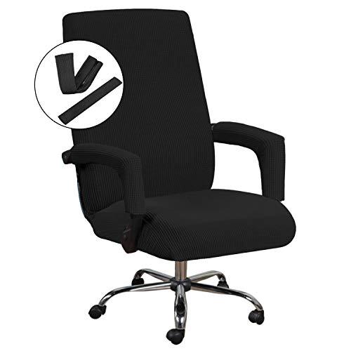 H.VERSAILTEX Office Chair Cover Stretch Chair Cover for Office Chair with Arms Computer Chair Cover Jacquard Boss Chair Cover Rotating Chair Slipcover Machine Washable Medium Size Black