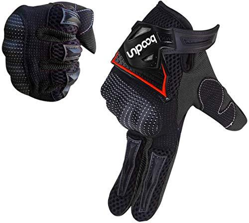 ARTOP Motorrad Handschuhe, Motorrad Cross Atmungsaktiver Handschuh mit Schutz PVC Shell Für Männer Frühling-Sommer-Herbst(Schwarz,XL)