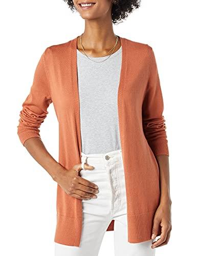 Amazon Essentials Women's Lightweight Open-Front Cardigan Sweater, Caramel, Large