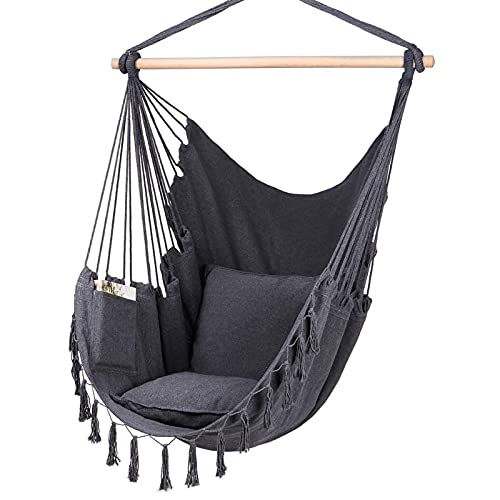 RWEAONT 120x150cm Silla de Hamaca Colgando Cuerda Colgando Cama al Aire Libre Interior decoración casera sillilla Silla con 2 Almohadas (Color : Black)