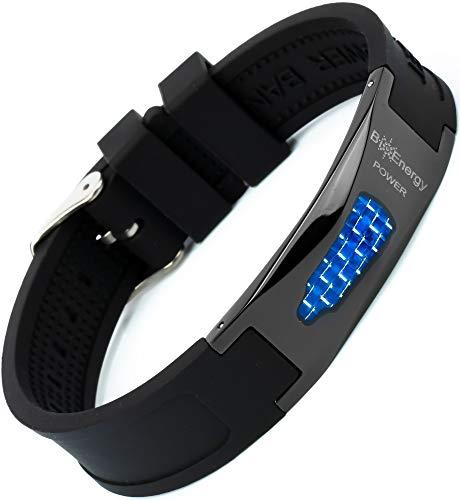 Magnetisches Armband aus Silikon mit Jade Turmalin und Kupfer Titanstahl Power Magnet Gesundheit Energie Germanium 7in1 – Blau, Größe – verstellbar