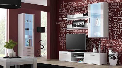 Jadella woonwand ' Soho 6 ' TV muur glazen vitrine televisiekast hoogglans hangkast lowboard wit