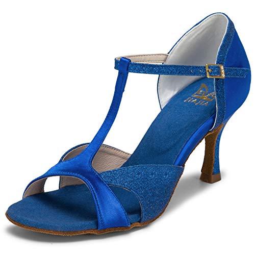 JIA JIA 2055 Latino Sandali da Donna Tacco Svasato da 2.7' Super Satin Scarpe da Ballo Colore Blue, Taglia 38 EU