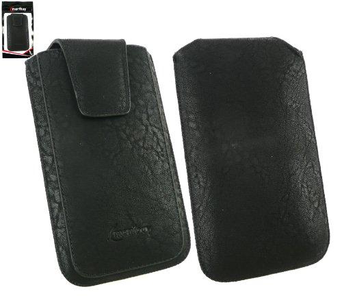 Emartbuy® Klassischer Bereich Schwarz Luxus PU Leder Slide in Hülle Tasche sleeve Halter ( Größe 3XL ) Mit magnetischer Klappen und Zuglasche Mechanismus Geeignet Für Slok D1 Dual Sim Smartphone