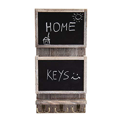 Organizador clasificador de correo rústico de 2 ranuras para pared con superficie de pizarra y 3 ganchos de doble llave - Decorador de pared para entrada hecho de madera de Paulownia - blanco rústico