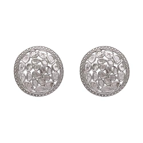 1.85cts Pendientes de botón de diamante natural Polki de rebanada genuina, plata de ley 925, hechos a mano