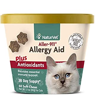 NaturVet – Aller-911 Allergy Aid Plus Antioxidants for Cats – 60 Soft Chews – Supports Immune System Skin Moisture & Respiratory Health – Contains Omegas DHA & EPA – 30 Day Supply