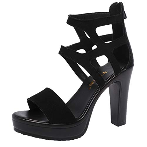 Zapatos de Tacón Alto Ancho para Mujer Sexy Elegantes Verano 2019 PAOLIAN Sandalias Fiesta Vestir Plataforma Tacon Cuña Calzado Comodos Abiertos EU 35-39